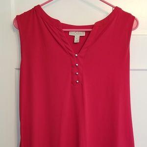 Red Dress Sleeveless Tank Sz L Gold Buttons